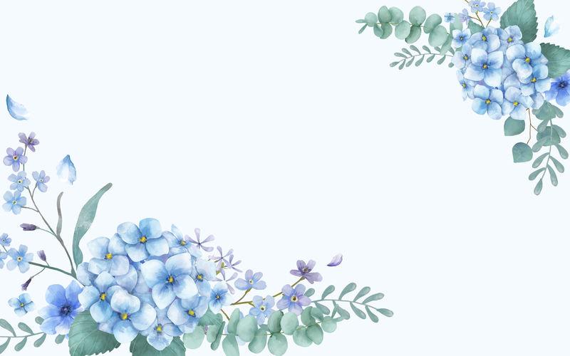 蓝色主题花卉贺卡