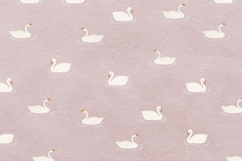 粉色背景白鹅图案插图