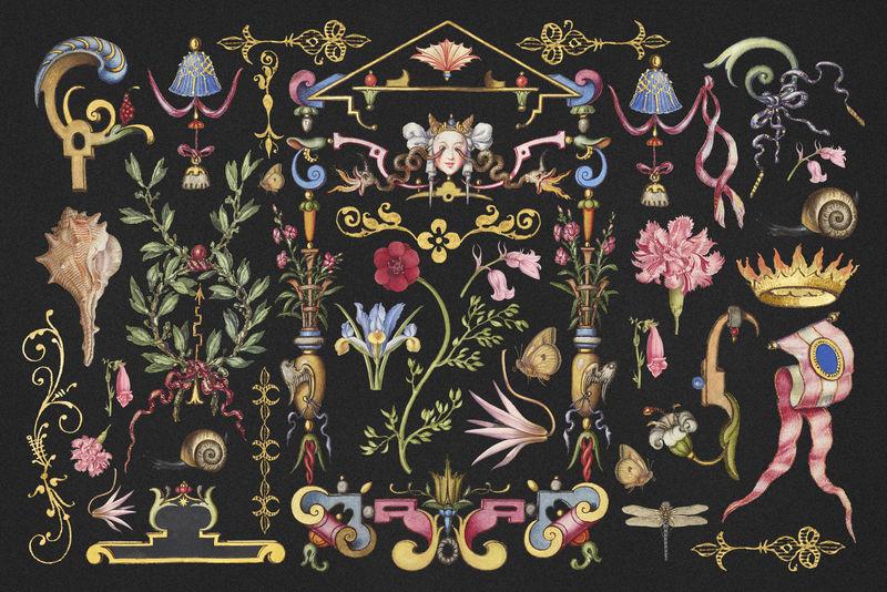 仿古维多利亚psd装饰psd装饰套来自书法模型书Joris Hoefnagel和Georg Bocskay的混音