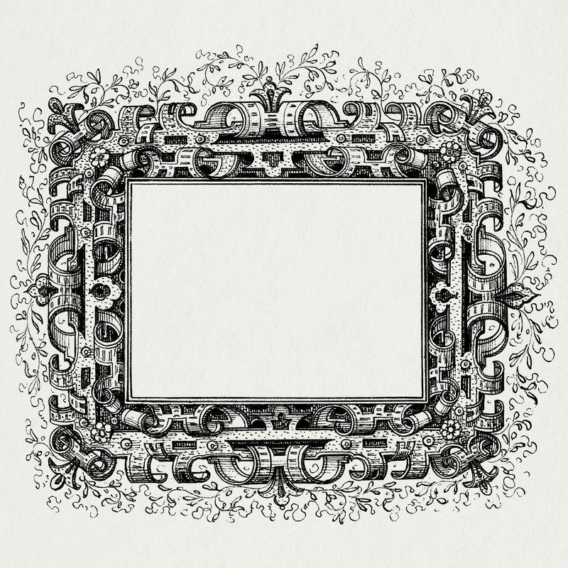 中世纪框架psd黑白
