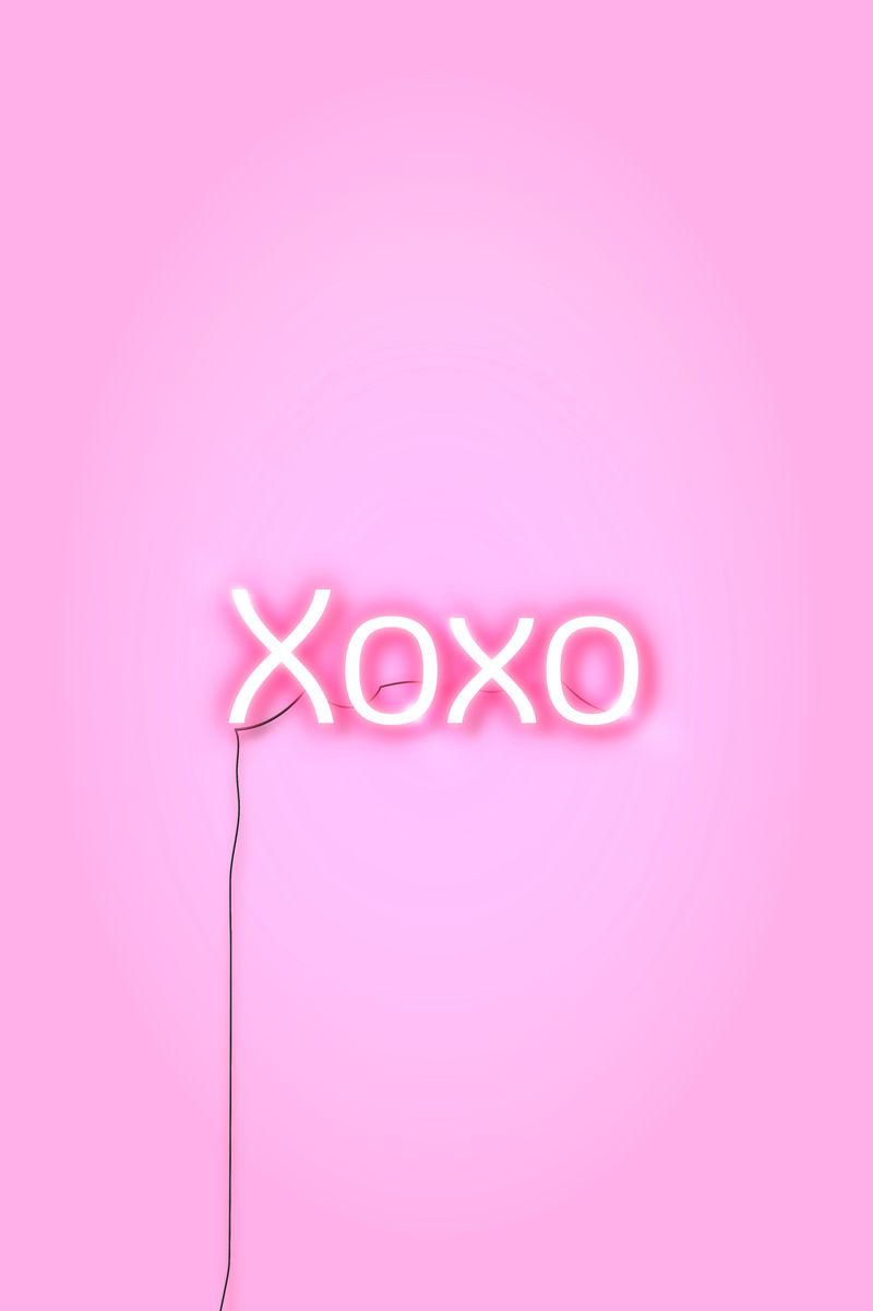 粉红色xoxo霓虹灯字向量