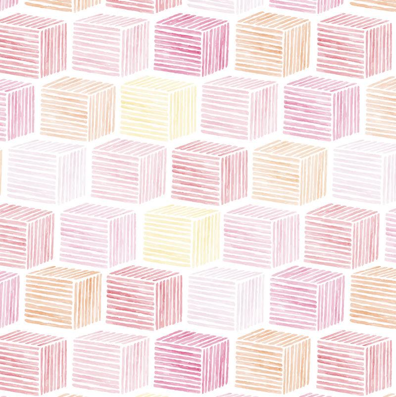 粉红色水彩立体图案无缝背景向量