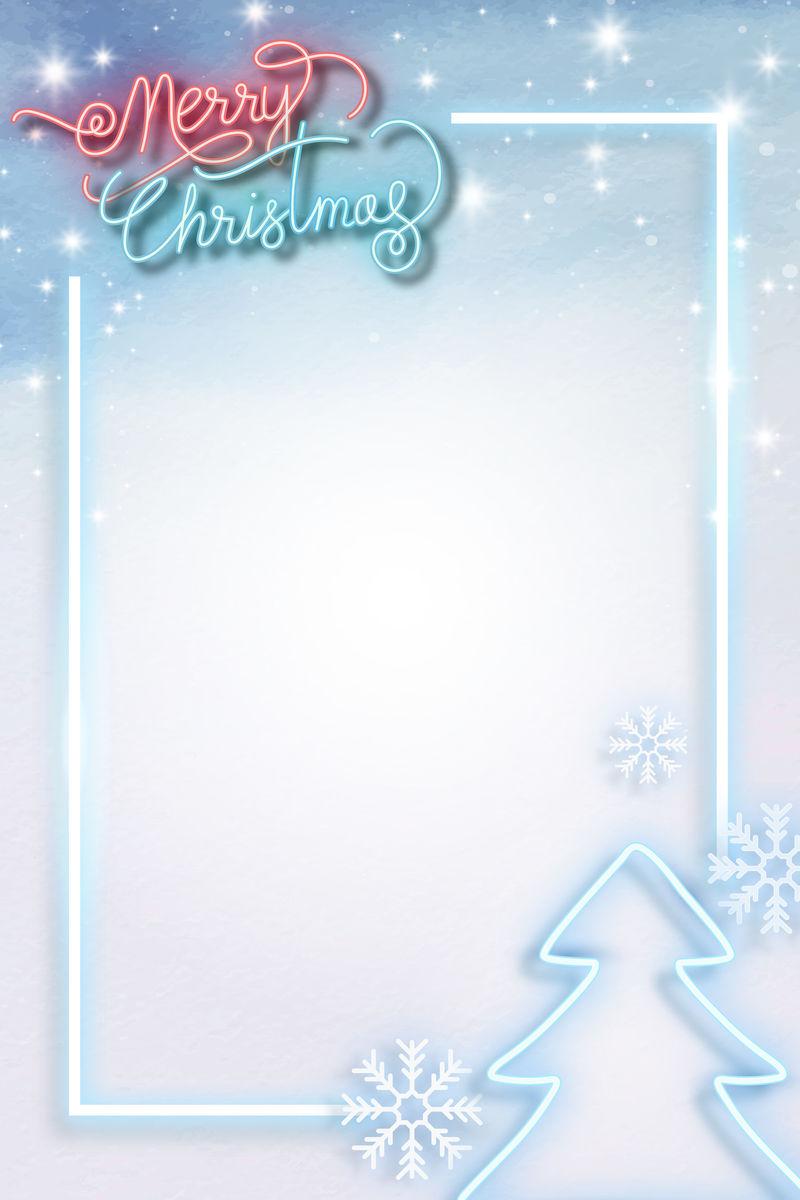 蓝色霓虹灯圣诞社交模板向量