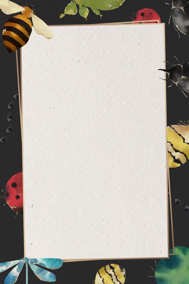 昆虫水彩画框矢量