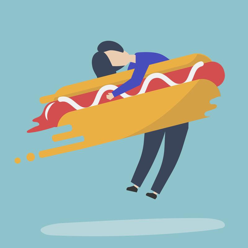 一个男人拥抱快餐热狗的角色插图