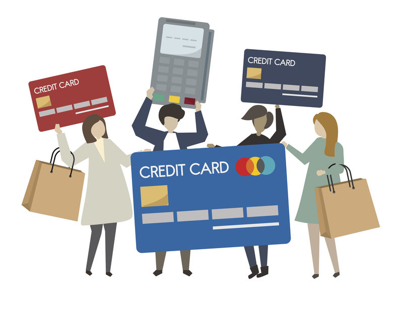 人们用信用卡购物插图
