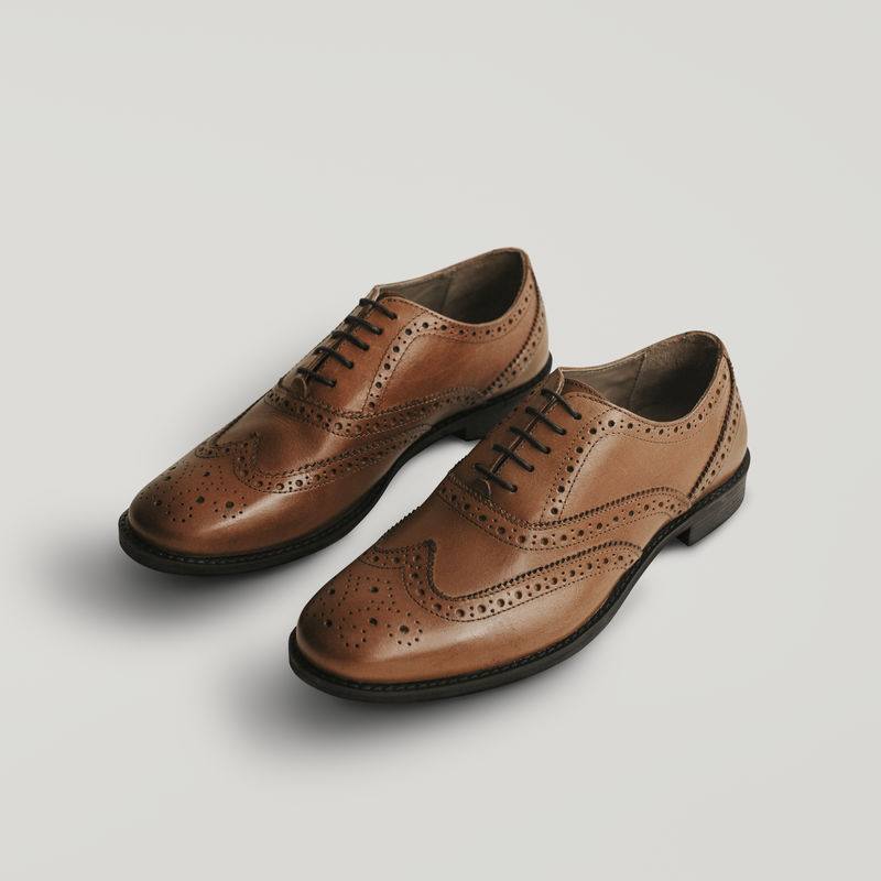 男式\u0026#039;s棕色皮革德比模型psd鞋