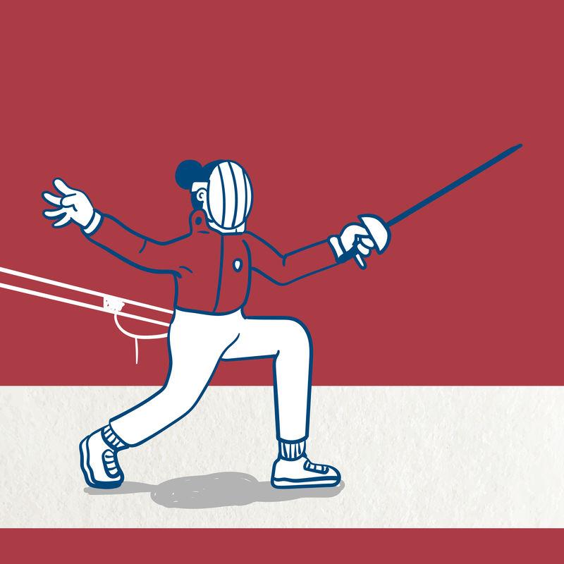击剑运动员练习击剑字符向量