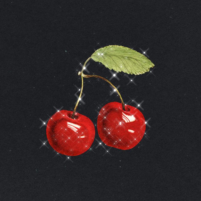 手绘起泡樱桃水果设计元素