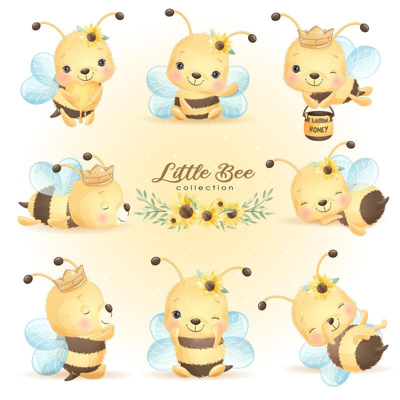 可爱的嘟嘟蜜蜂摆出花朵收藏的姿势