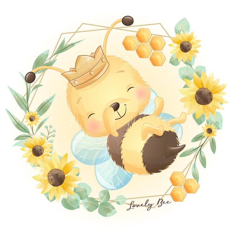 可爱的涂鸦蜜蜂和花卉插图
