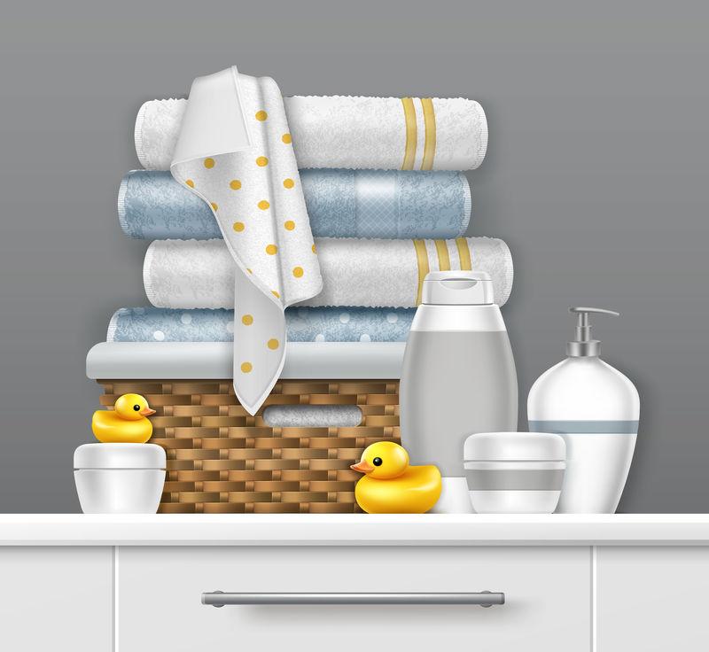 带浴具的毛巾