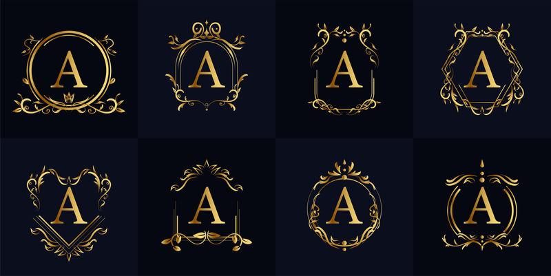 矢量字母花纹标签