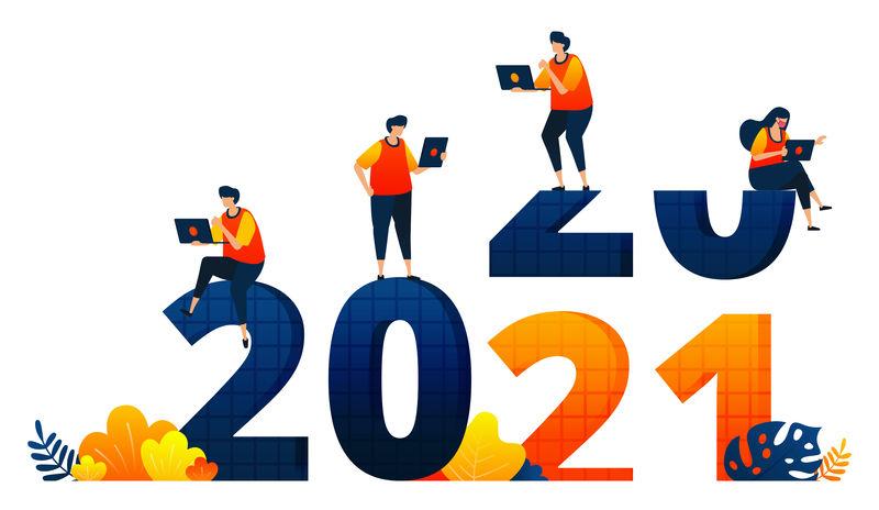 2020年至2021年的新年,主题是上班族不放假。矢量插图概念可以用于登陆页,模板,用户界面,网络,移动应用程序,海报,横幅,网站,传单