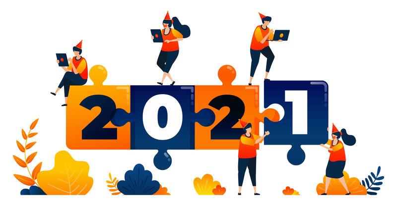 以益智游戏、领导力和团队合作为主题的2020-2021新年。矢量插图概念可以用于登陆页,模板,用户界面,网络,移动应用程序,海报,横幅,网站,传单