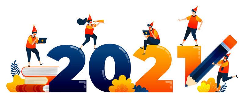 以教育、学习、学习为主题的2020年至2021年倒计时。矢量插图概念可以用于登陆页,模板,用户界面,网络,移动应用程序,海报,横幅,网站,传单