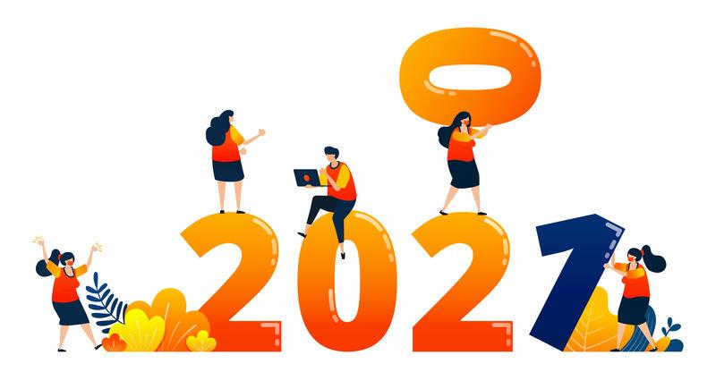 2020年至2021年倒计时,下一年以团队合作为主题。矢量插图概念可以用于登陆页,模板,用户界面,网络,移动应用程序,海报,横幅,网站,传单
