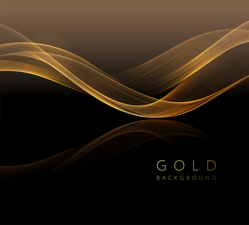 抽象闪亮的金色波浪形设计元素。流动黄金波