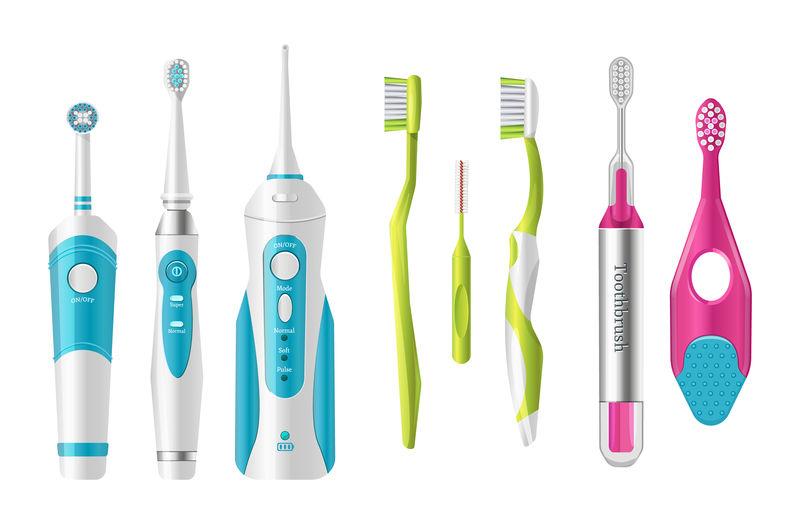 塑料牙刷,不同形状的牙刷。