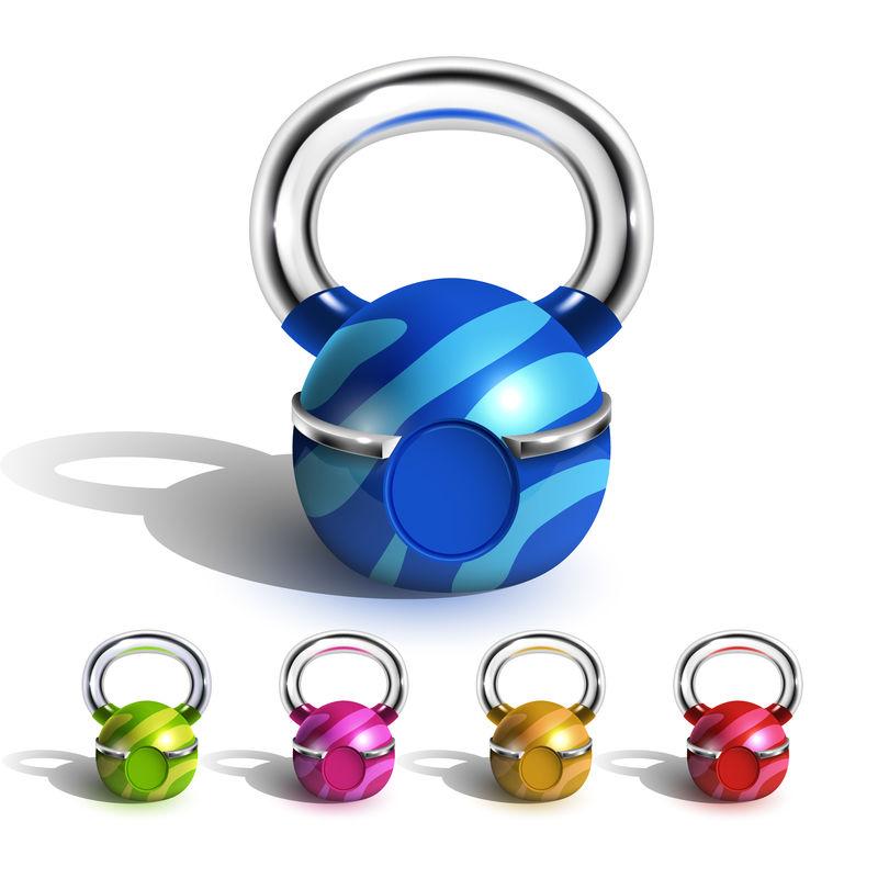 有趣多彩设计的壶铃集合向量