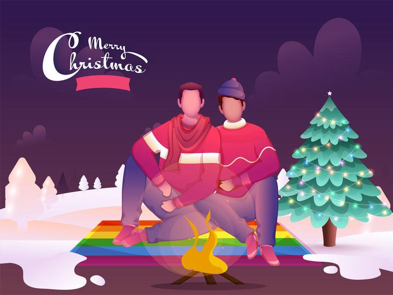 卡通同性恋情侣坐在篝火前装饰性的X