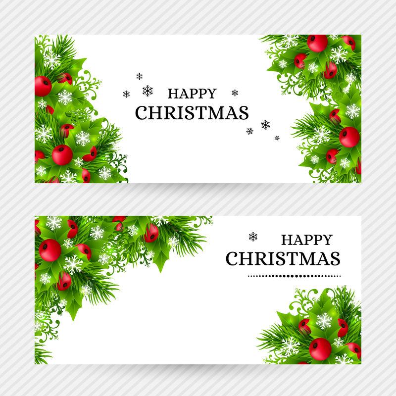 圣诞背景与冷杉和冬青树装饰