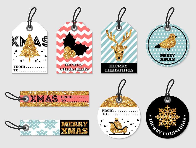 圣诞快乐和新年礼物标签