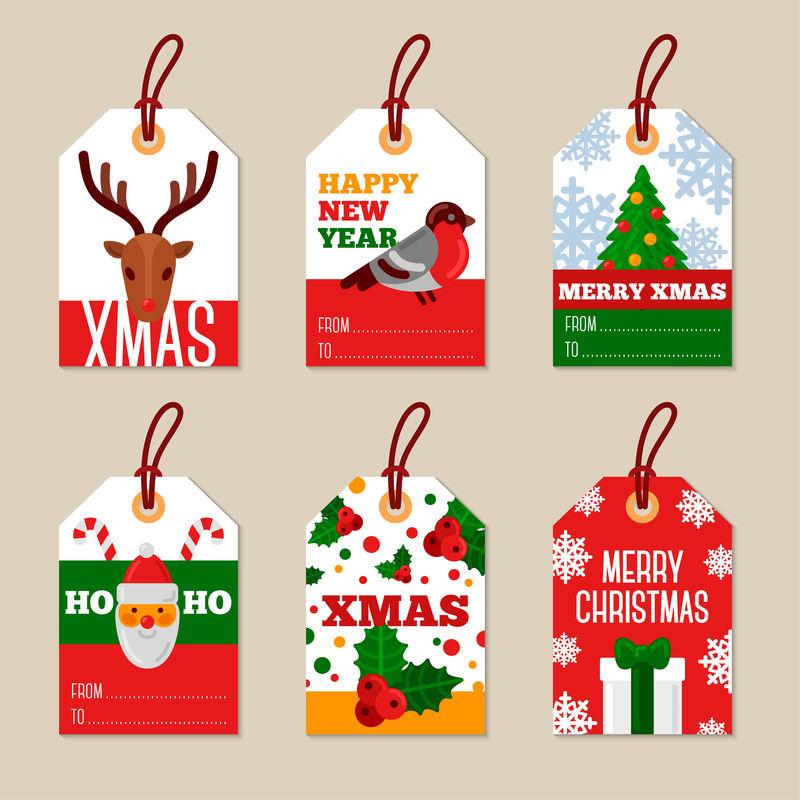 圣诞快乐平面礼品标签套装