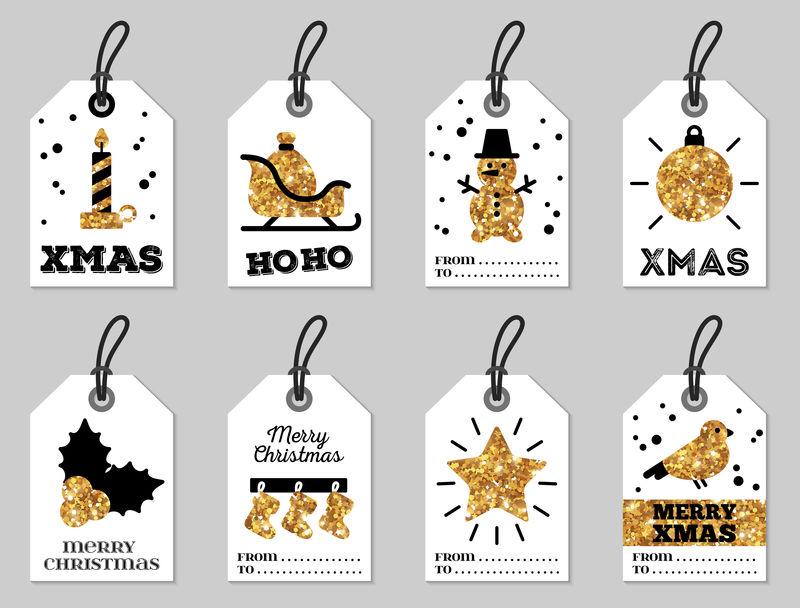 一套闪闪发光的金色圣诞快乐礼品标签