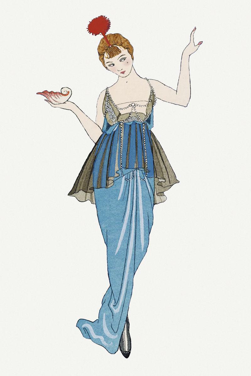 复古女性时尚psd乔治·巴比尔艺术作品混音