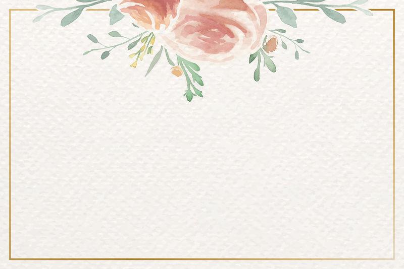 复古水彩玫瑰主题卡片模板向量