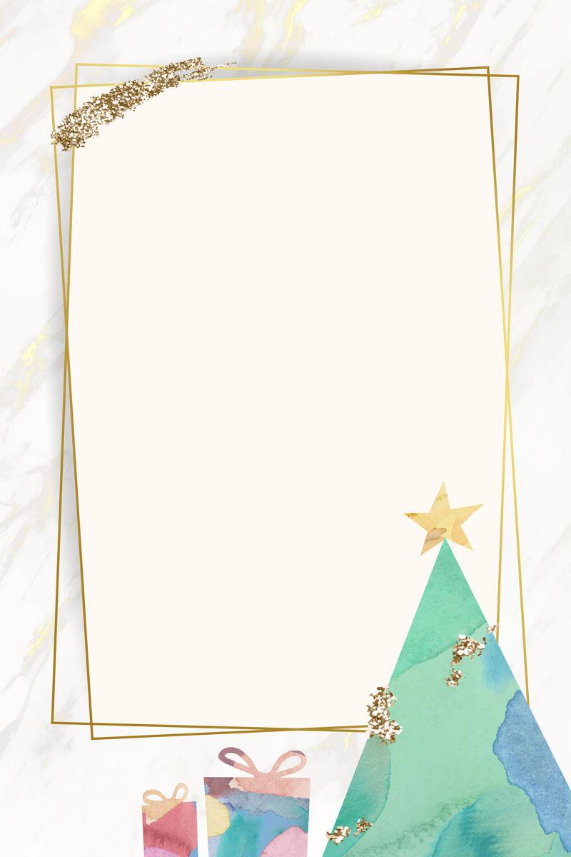 圣诞树图案背景矢量金框