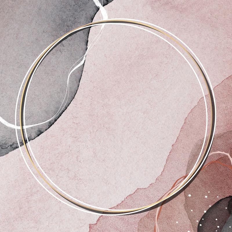 抽象图案背景模型上的圆形金框