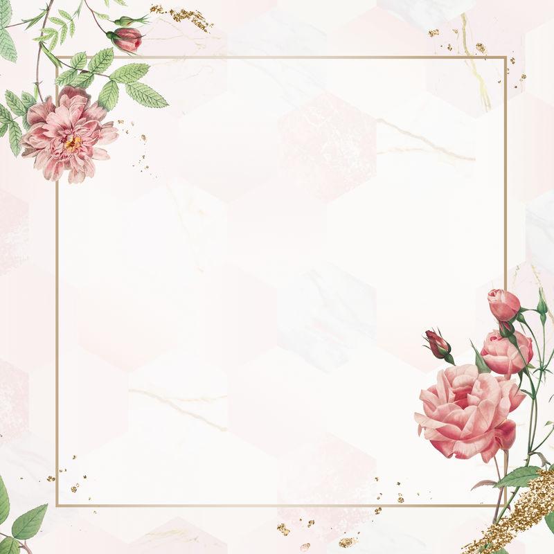 复古粉红玫瑰框架模型