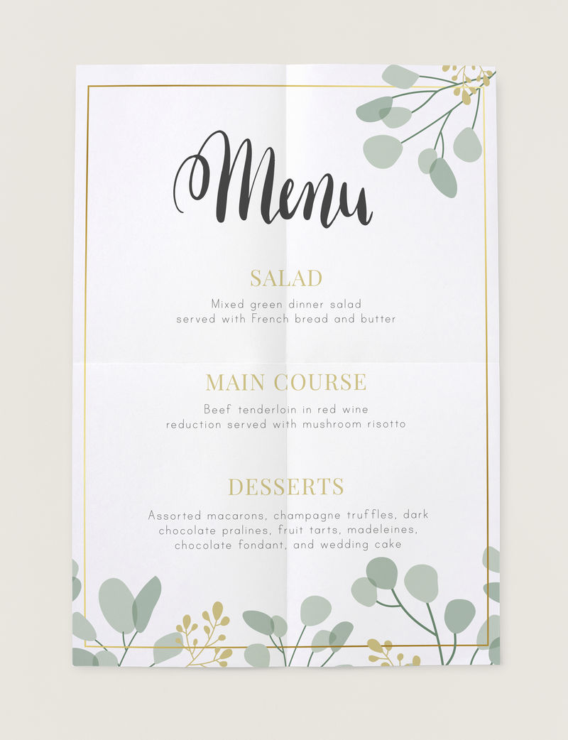 今日餐厅的菜单卡模型