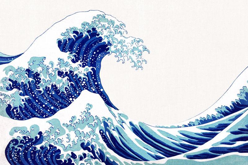 Vintage wave日本psd边框由Katsushika Hokusai混合艺术品