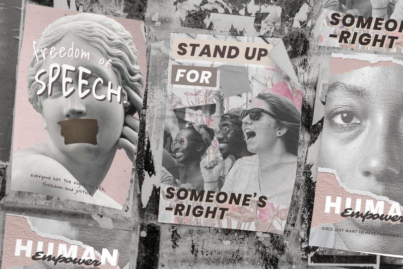 Psd的人拿着人权抗议海报模仿