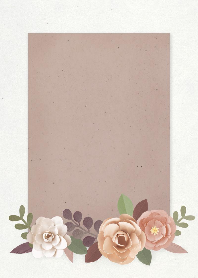 纸工艺花卉元素卡片模板向量