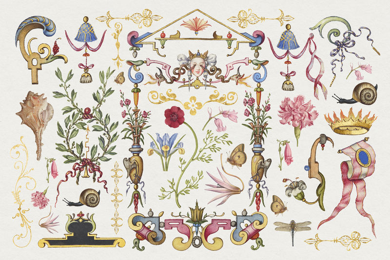 古董维多利亚装饰psd装饰对象集从书法模型书乔里斯霍夫纳格尔和乔治博茨凯混音