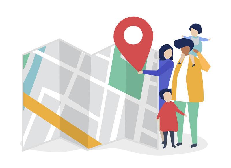 用地图和GPS标记说明家庭特征