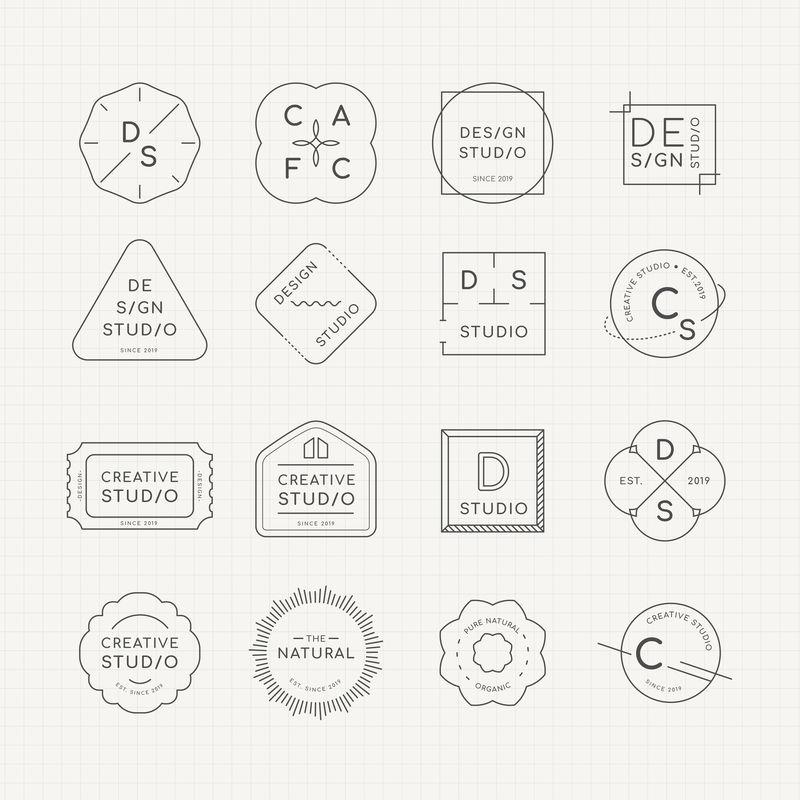 最小标志徽章设计向量集