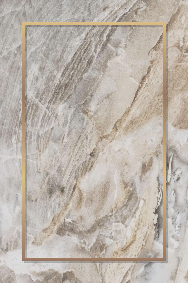 大理石背景向量上的矩形金框