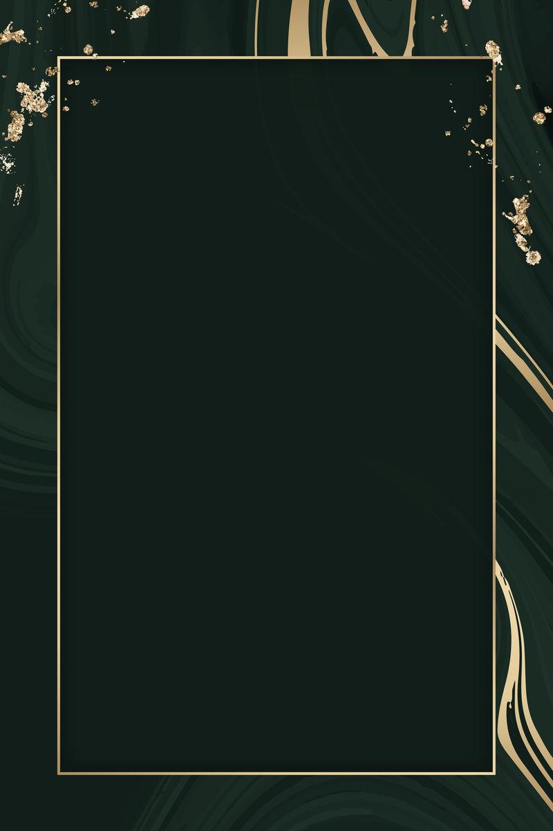 黑色流体图案背景向量上的矩形金框