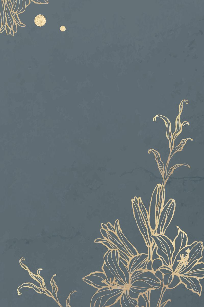 大理石背景矢量上的金色花卉轮廓