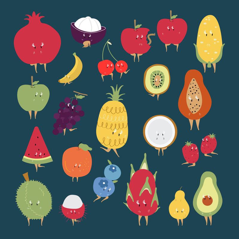 热带水果卡通人物向量集