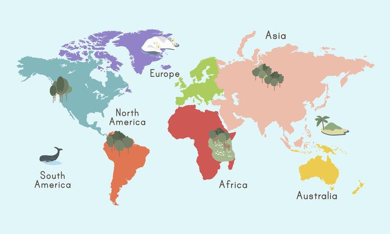 世界地图插图