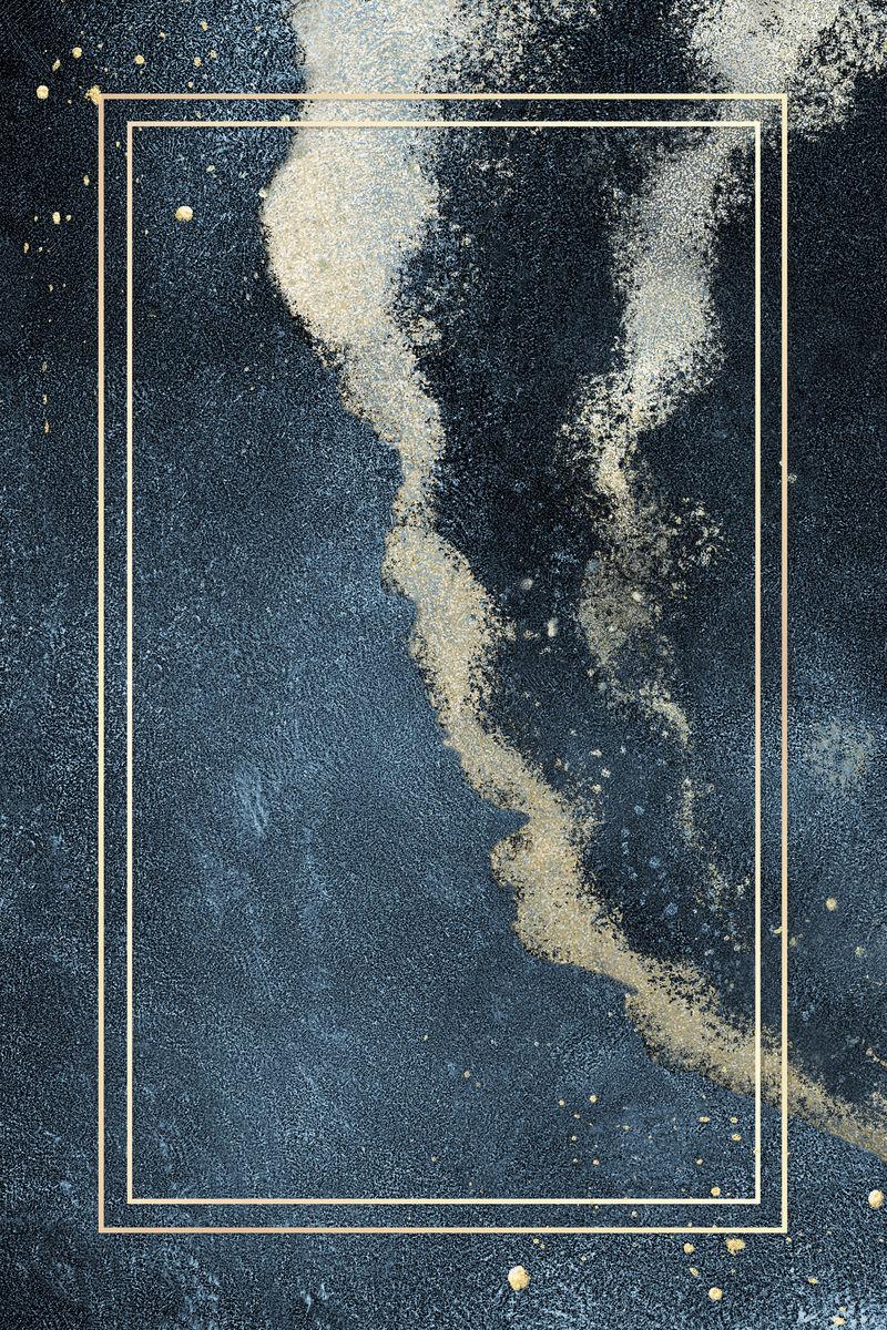 深蓝色闪光背景插图上的矩形金框