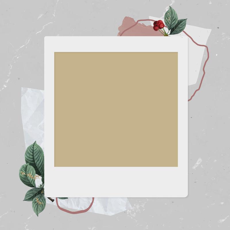 圣诞装饰空白即时相框矢量