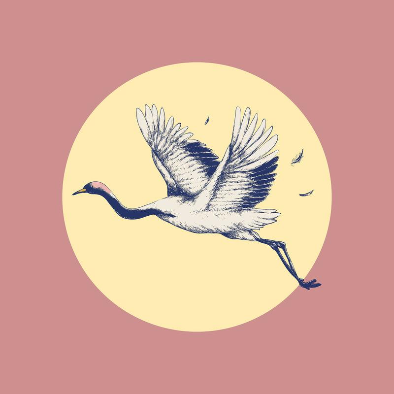 太阳上的飞鹤复古壁画艺术印刷海报设计混搭原创艺术作品