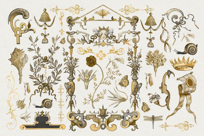 黄金仿古维多利亚装饰psd装饰集从书法模型书乔里斯霍夫纳格尔和乔治博茨凯混音